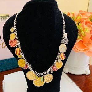 Coach SilverChain & Colorful Round Design Necklace